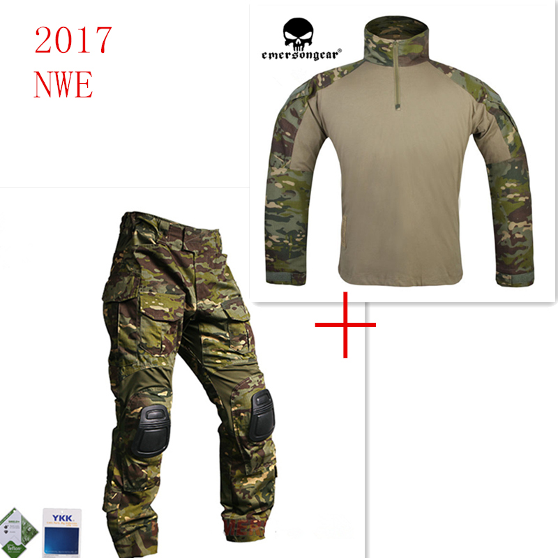 Emersongear G3 Combat Shirt et Pantalon Avec Genouillères Imperméable Formation Vêtements Airsoft Tactique Multicam Tropic PTME Emerson