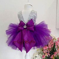 Toddle cute purple pageant prom gown sliver sequin deep v back infant Halloween party dresses baby casual tutu outfits 2017