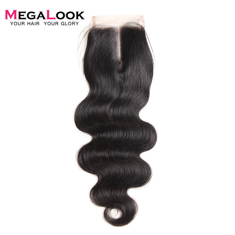 Megalook Swiss Lace Closure Peruvian Body Wave Remy Human Hair Closure Natural Color 10-22 Inch Free/Middle/Three Part