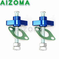 Motorcycle Manual Cam Chain Tensioners CNC Aluminum Timing Chain Blue 2pcs Comes With Gaske For Yamaha Suzuki SV650 SV650S All