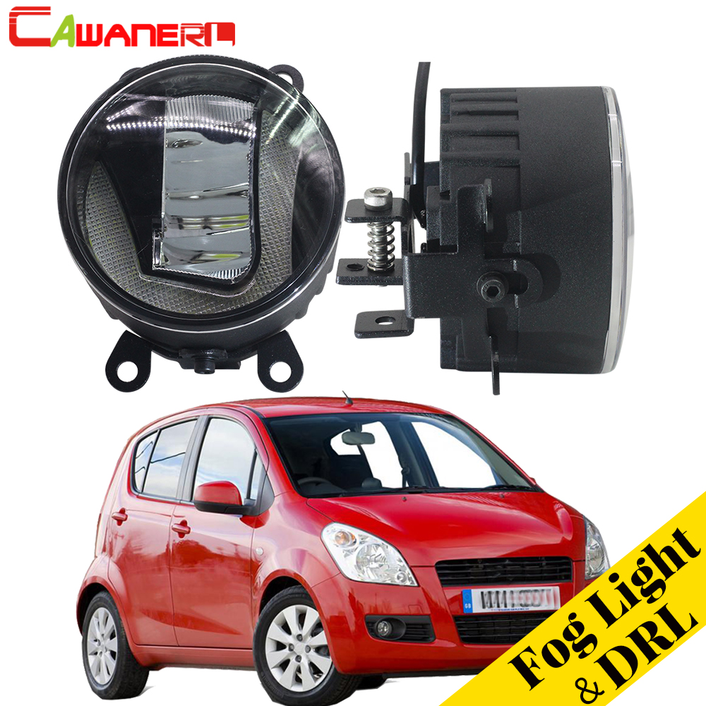 Cawanerl 2 Pieces Car Accessories LED Fog Light DRL Daytime Running Lamp White 12V For Suzuki Splash Hatchback 2008-2015