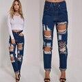 2016 vaqueros de Las Mujeres de Moda chica sexy american apparel jeans Button Fly Regular novio para mujeres