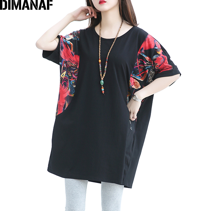 26bb7fea46a DIMANAF Women T-Shirt Plus Size Cotton Summer Print Black Spliced Batwing  Sleeve Female Tops Casual Oversized Loose Tees T-Shirt