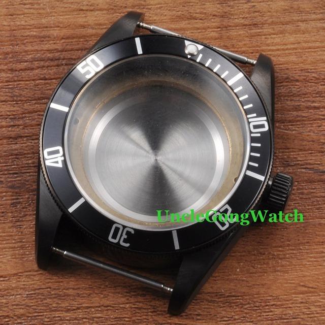 As Peças do relógio, corgeut 41mm relógios para relógio de pulso, relógio pvd preto revestido casos apto para eta 2836/2824 movimento automático ca2010cap