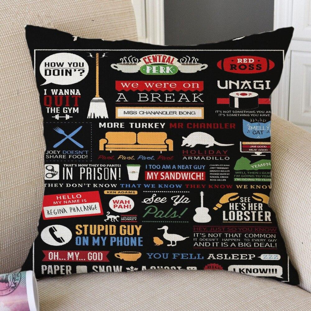 Amigos tv mostrar motivação citação decorativo algodão linho capa de almofada 45x45cm para sofá cadeira travesseiro caso decoração para casa almofada