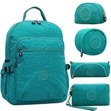 5 pcs Set Original Casual Waterproof Nylon Backpack Mochila Escolar Travel  Bag Rucksack School Backpack a2215d35b3