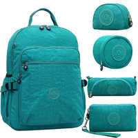 ACEPERCH Casual School Bags for Teenage Girls and Boys Kids Schoolbags Nylon Laptop Bagpack Female Travel Bags With Keychain