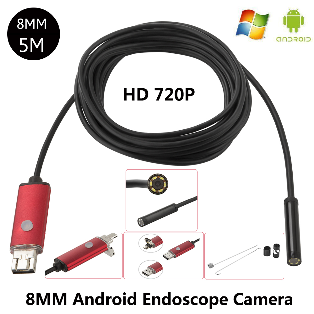JCWHCAM HD 720P 2MP 8mm Android USB Endoscope Camera 6LED Snake Flexible USB Endoscope 5M Android OTG USB Borescope Camera jcwhcam 5m 8mm android phone otg micro usb endoscope 2mp hd waterproof borescope industrial inspection snake tube camera