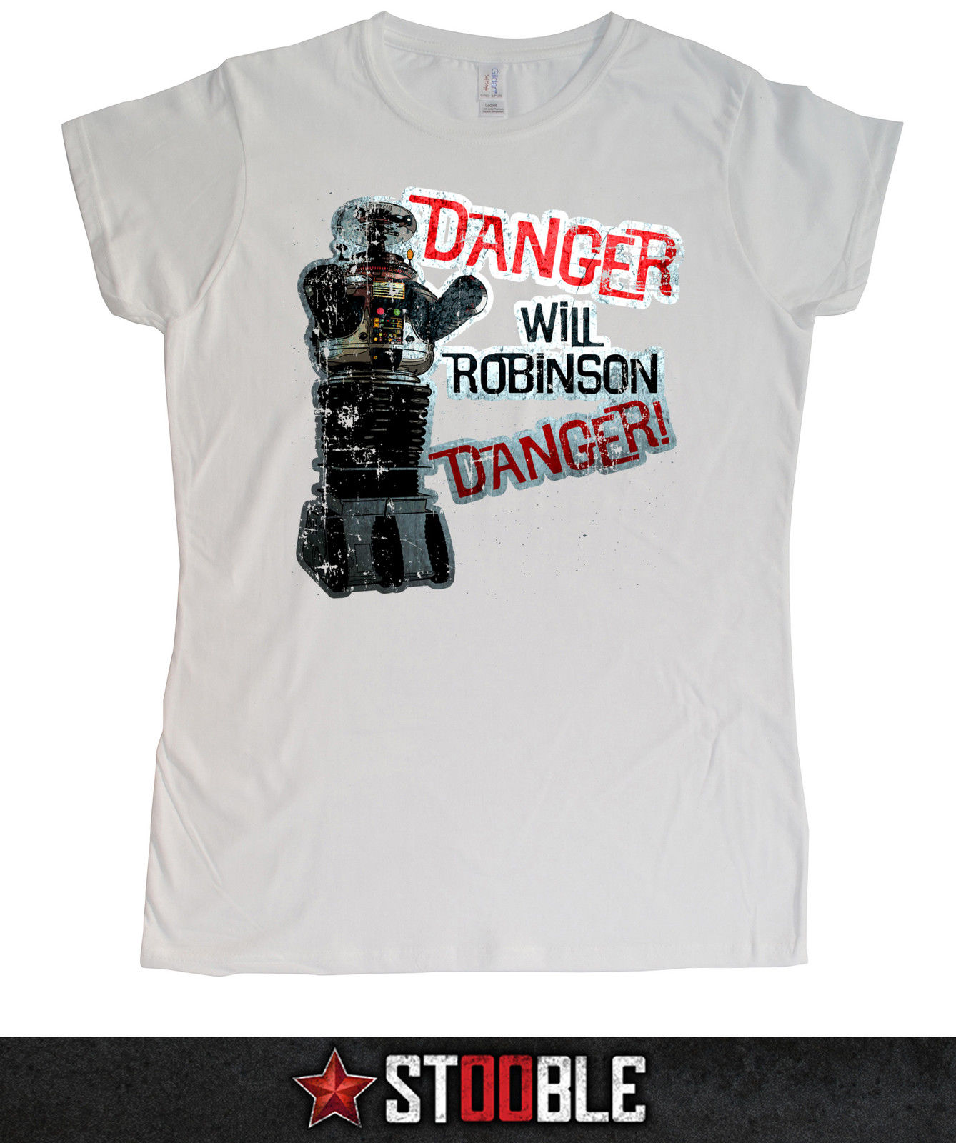 Danger Will Robinson Ladies T-Shirt - Direct from Stockist New T Shirts Funny Tops Tee New Unisex Funny Tops Print T Shirt Men image