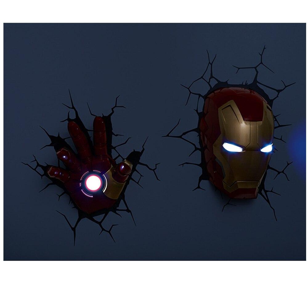 Image 5 - Cartoon Marvel Figure Wall Lamp Iron Man Spiderman Hulk Captain America Hero Children Night Light Christmas Birthday Gifts-in LED Night Lights from Lights & Lighting