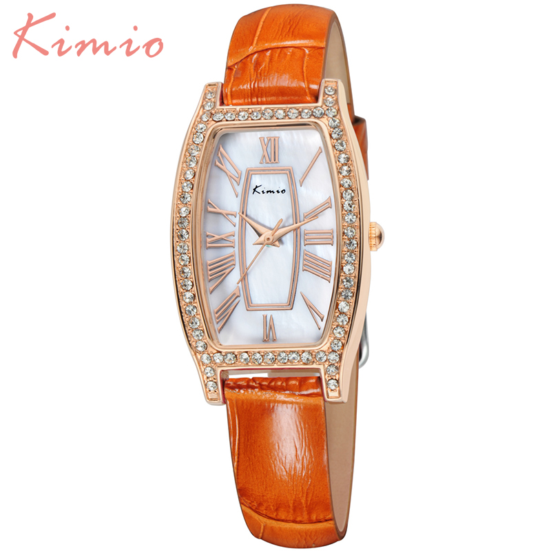 KIMIO New Luxury Brand Women Watches 2016 Quartz Watch Fashion Ladies Wristwatches 6 Color Leather band