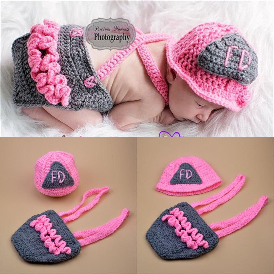 Crochet bombero bebé foto accesorios bebé sombrero del cabrito ropa ...