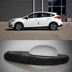 Nowe Auto zewnętrzne wykonane z włókna węglowego drzwi osłona klamki naklejki dekoracje nakładki wykończenia dla forda serii w Klamki do drzwi zewnętrznych od Samochody i motocykle na