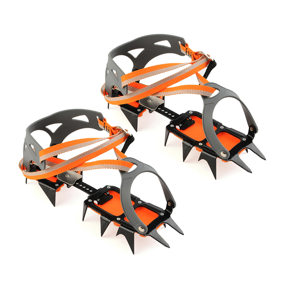14-point Crampons Manganese Steel Climbing Gear Anti-Skid Snow Ice Climbing Shoe Grippers Crampon Traction Device Mountaineering