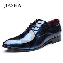 Patent leather shoes men 2018 hot business formal pointed toe wedding oxford shoes men plus size