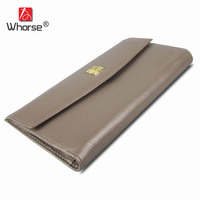 WHORSE Brand Logo Women Wallets Genuine Leather Long Organizer Wallet Clutch Purse Cowhide Hasp Lady
