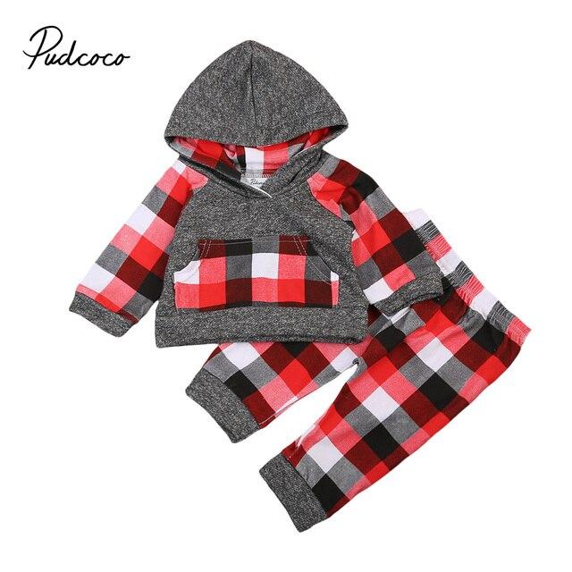 11d745de9c2 plaid baby clothes set Autumn Infant Baby Boy Girl Outfit Clothes Red black  gray plaid T