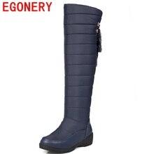 Egonery schuhe 2017 mode runde zehe slip-on über das knie stiefel winter pluash keile nubukleder winterstiefel elegante königin