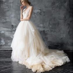 تنورة زفاف رائعة من التول الناعم مصنوعة حسب الطلب تنورة مصنوعة من التول لحفلات الزفاف مع ذيل سويب وفواصل للزفاف دعائم صور