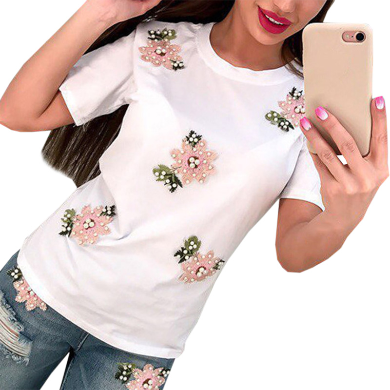 2018 New Brand Summer Tops Fashion Clothes For Women Bead Flower T Shirt Red Black Female T-shirt Camisas