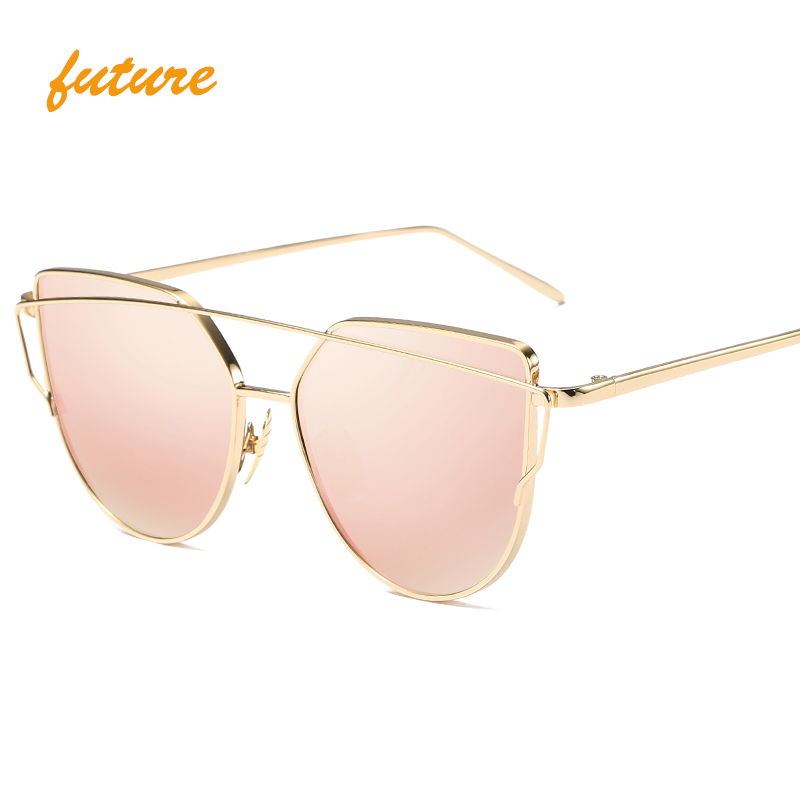 Fashion luxury vintage Brand designer rose gold mirro Sunglasses For Women Sun Glasses Cat Eye flat lens Female Vintage oculos