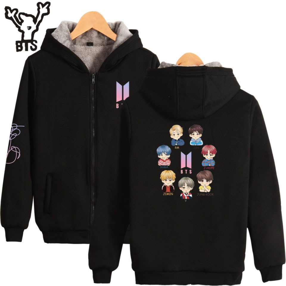 BTS Korean K-pop Women/Men Hoodies Sweatshirts Zipper Popular Hip Hop Hot Sale Lovely Sweatshirt Fashion Design Plus Size 4XL