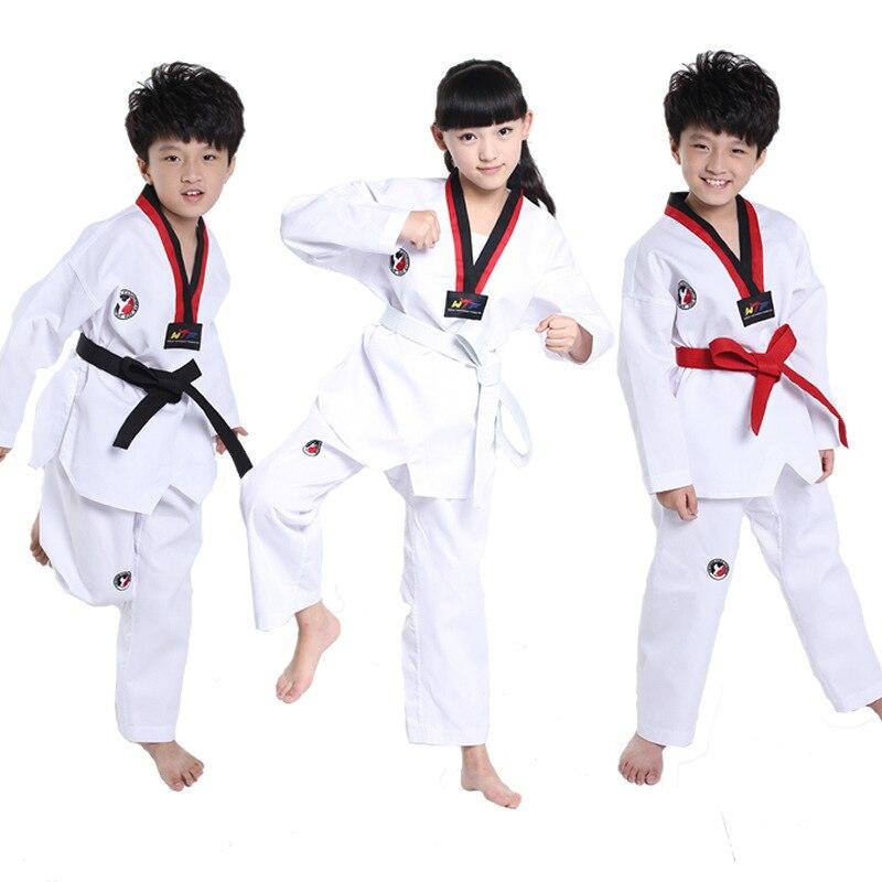 Дети тхэквондо Одежда Набор детей кимоно для дзюдо Комплекты одежды детей каратэ конкуренции Производительность костюмы H151