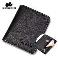 Бизон джинсовые Для мужчин кошельки черный кожаный кошелек для Для мужчин Бизнес держатель для карт Для мужчин бумажник мини N4429