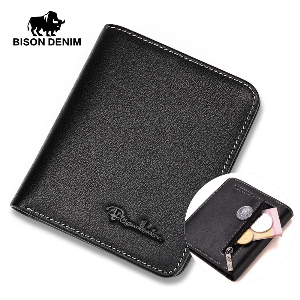 BISON DENIM Men Wallets Black Genuine Leather Purse For Men Business Card  Holder Men s Wallet Mini 3c548235d7a0