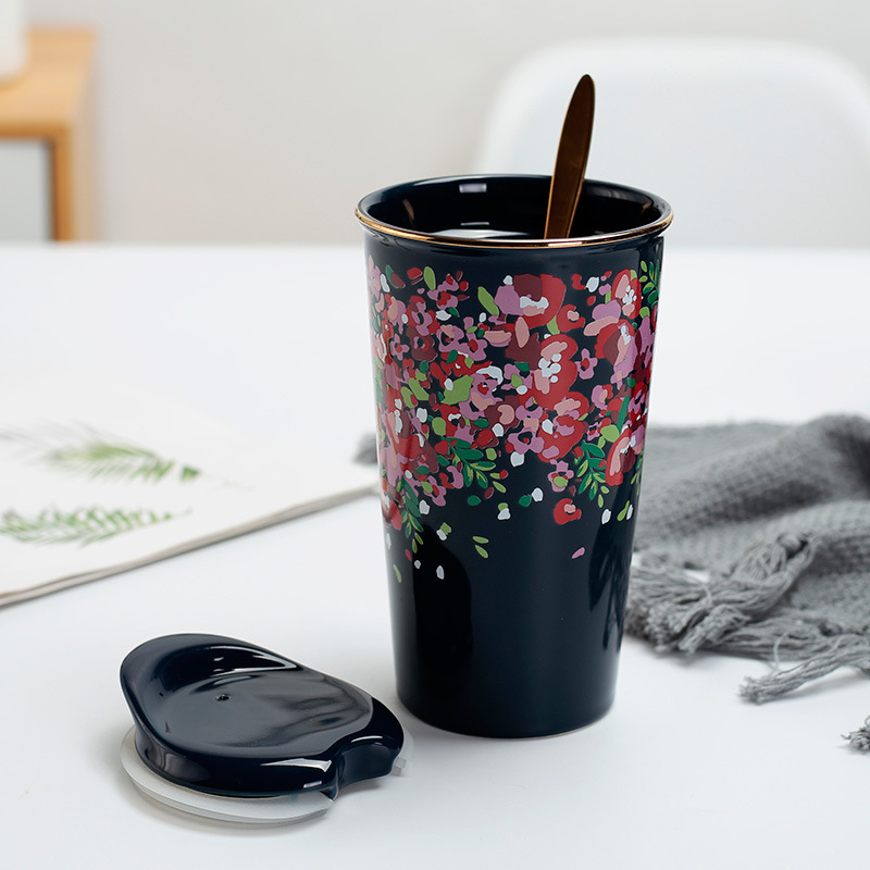 Creative Blue Glaze Cherry Blossom Double Layer Ceramic Heat resistant Mug Large Capacity Water Cup With Cover Spoon Coffee Mug in Mugs from Home Garden