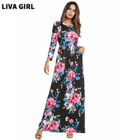 2018 Women Printing Dress Spring Fashion Flowers Printing Long Vestidos Good Quality Women Russian Style Casual
