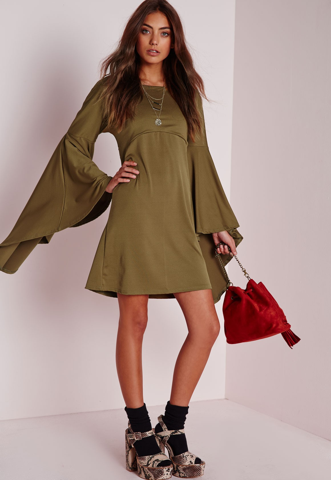 PREMIUM Olive Flared OVERSIZE BELL SLEEVE Tunic Shift Hippie Loose Gypsy Dress
