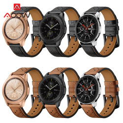 20mm 22mm Genuine Leather Watchband for Samsung Galaxy Watch 42mm 46mm version Black Brown Holes Replacement Bracelet Strap Band
