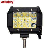 Weketory 4 Inch 36W 3 Rows LED Work Light Bar For Motorcycle Tractor Boat Off Road