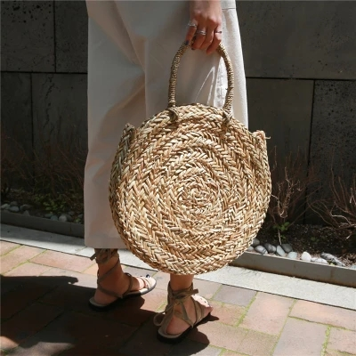 2018 Brand New Bohemian Straw Bags for Women Big Circle Beach Handbags Summer Vintage Rattan Bag Handmade Kintted Travel Bags