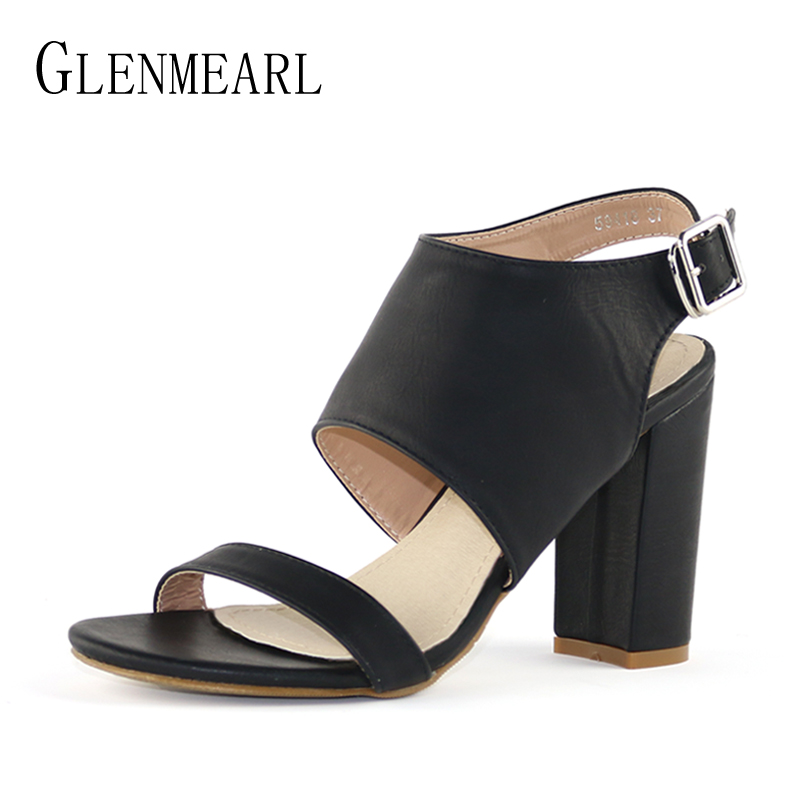 где купить Leather Woman Sandals Shoes High Heels Female Summer Brand Black Open Toe Ankle Strap Shoes Thick Heel Plus Size Lady Sandals DE по лучшей цене