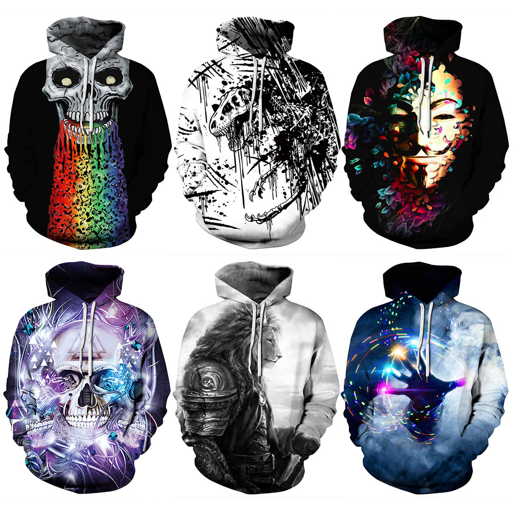Men's Clothing Hot Sale 2018 Autumn 328 Skull Halloween Joker Dinosaur Prints Women Jacket Hooded Femme Sweatshirt Casual Loose Men Pocket Hoodies Coat