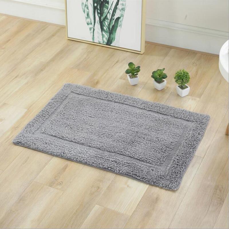 100% coton couleur unie absorbant doux salle de bains tapis cuisine Shaggy bain tapis antidérapant décoration de la maison tapis paillasson