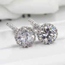 Fashion Top Quality Multi Flower Crystal Earring Stud White Gold Filled & 925 Sterling Silver Small Earrings Party Jewelry Women