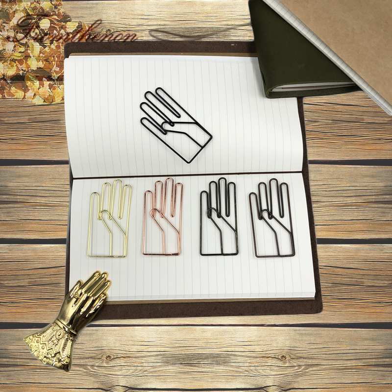 Fromthenon Vintage Hand Shape Paper Clips For Midori Travel Journal Accessories Large PaperClips Bookmark Decorative Stationery