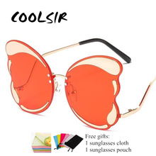European Fashion Women Oversized Butterfly Sunglasses Brand Designer Rimless Mirror Coating Gradient Lens Summer Glasses