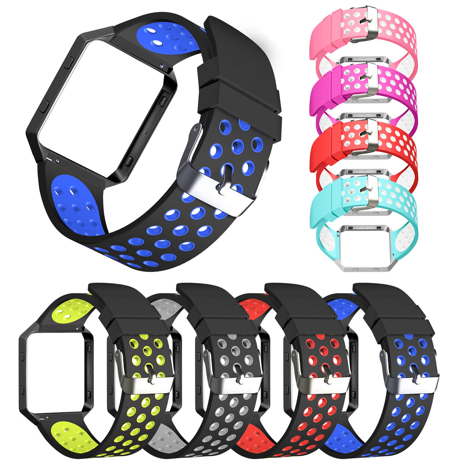 10 Colors Replacement Watch Strap For Fitbit Blaze Bands Sport Soft Silicone For Fitbit Blaze Smart Fitness Watch With Frame carlywet 23mm black 316l stainless steel replacement watch strap belt bracelet with case metal frame for fitbit blaze 23 watch