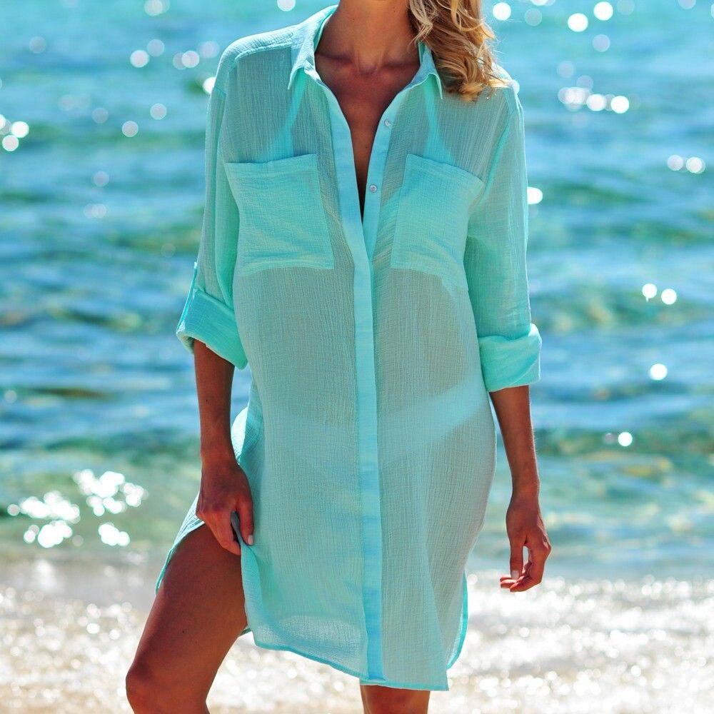 Women 39 s Swimsuit Beach Cover Up Shirt Bikini Beachwear Bathing Suit Beach Dress S XL in Cover Ups from Sports amp Entertainment