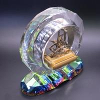 Antique Modern Skeleton Hexagon Crystal Table Clock Unique Desk Table Clock Classic Quartz Clock Men Women Gift Jewelry