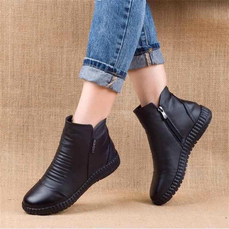 แฟชั่นฤดูหนาว Plus กำมะหยี่หนังรองเท้าผู้หญิงรองเท้ารอบหัวหนาด้านล่างหนังกันน้ำ Woma รองเท้า Knight 35- 43