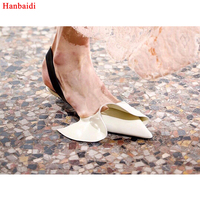 Hanbaidi 2018 Ruffles Design Hot Gladiator Sandals Women Pointed Toe Black Red White Real Leather Little Med Heels Shoes Woman