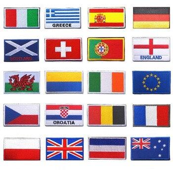 1 pieza de tela AHYONNIEX Parches de bandera Ucrania, UE, República Checa, Escocia, Rusia, parches con bandera 3D para chaqueta, ropa de Vaqueros