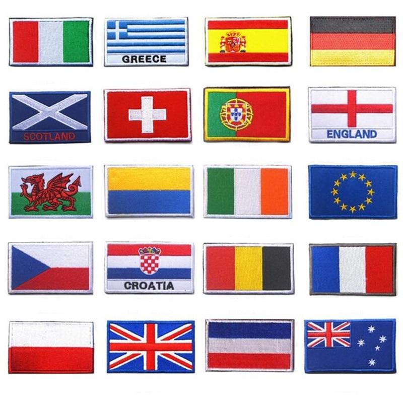 AHYONNIEX 1PC Fabric Flag Patches Ukraine EU Czech Croatia Scotland Russia Patches 3D Flag Patch For Jacket Jeans Clothing