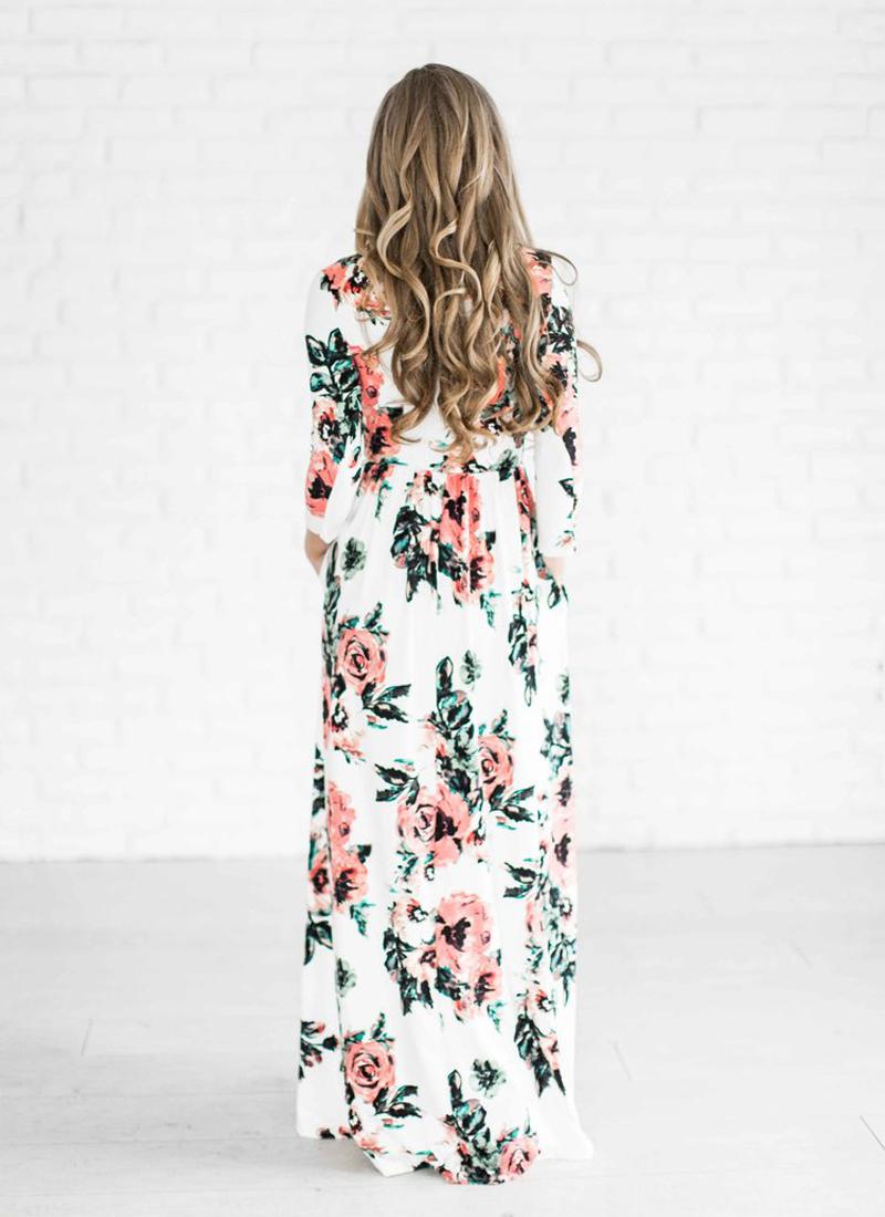 ELSVIOS 2017 Summer Boho Beach Dress Fashion Floral Printed Women Long Dress Three Quarter sleeve Loose Maxi Dress Vestidos 3