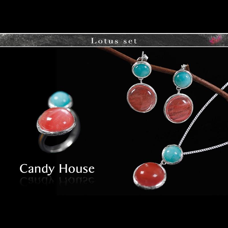 Lotus Fun Real 925 Plata de ley Natural joyería fina hecha a mano Candy House Jewelry Set con anillo gota pendiente colgante collar-in Conjuntos de joyería from Joyería y accesorios    1